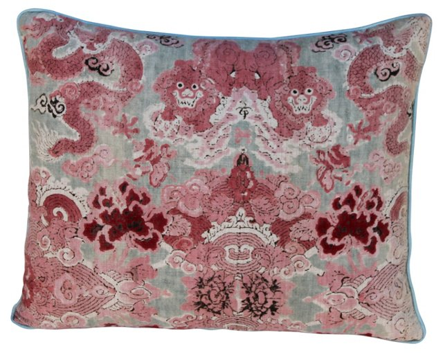 Chinoiserie Printed Linen  Pillow