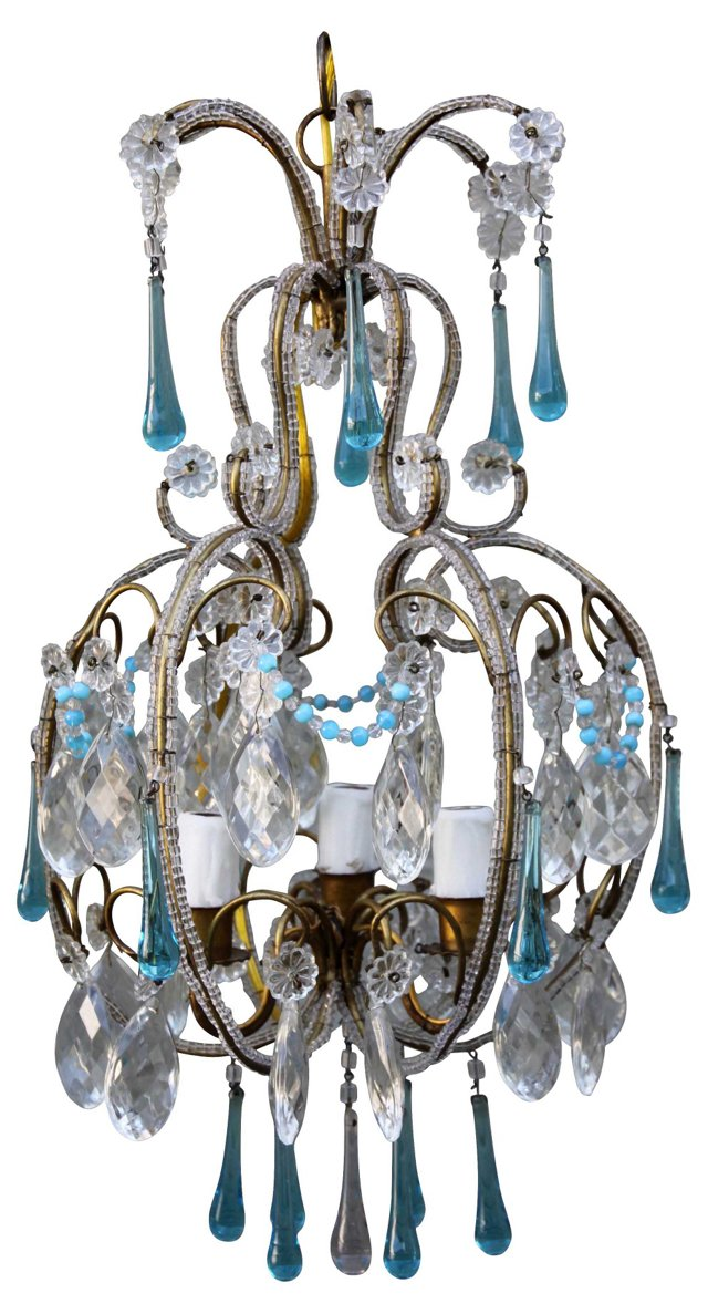 Aqua Crystal & Beaded Chandelier