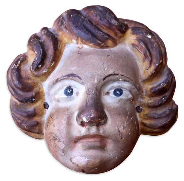 Carved Wood Cherub Face