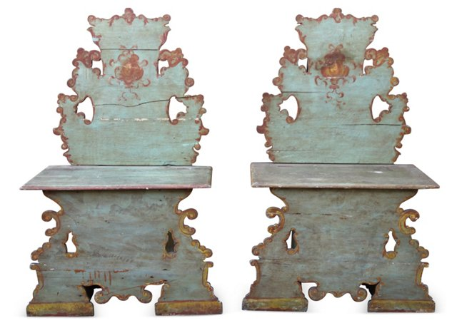 Venetian Painted Benches, Pair