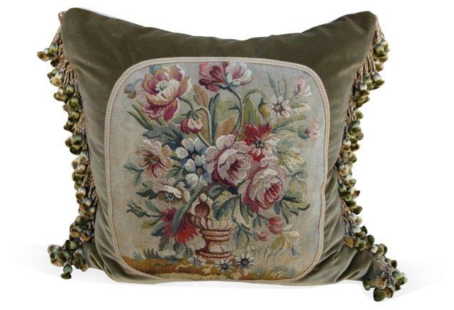 Pillow w/   19th-C. Floral   Aubusson
