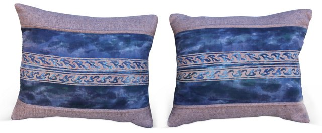 Blue Fortuny Pillows, Pair