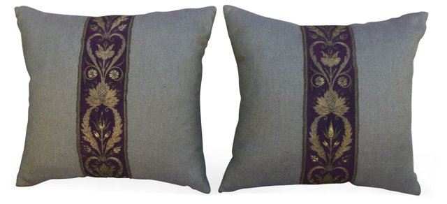 Metallic Embroidered Silk Pillows, Pair