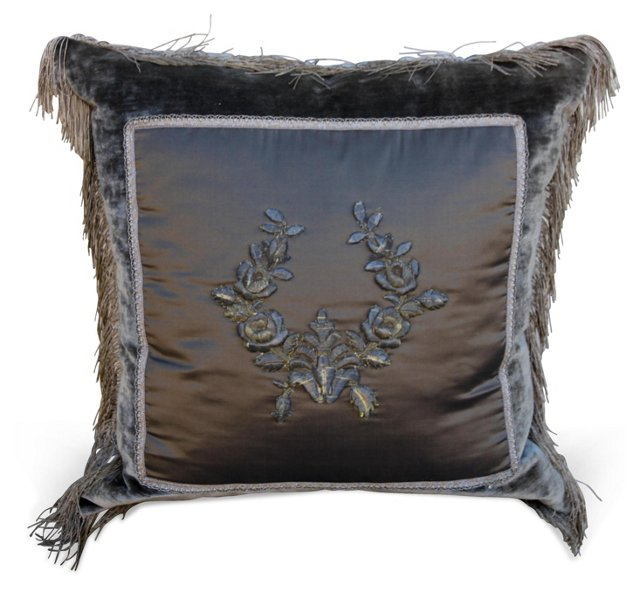 Pewter Pillow w/ Appliquéd Wreath