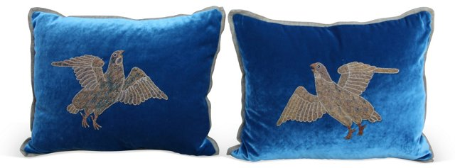 Appliquéd Silk Velvet Pillows w/ Doves