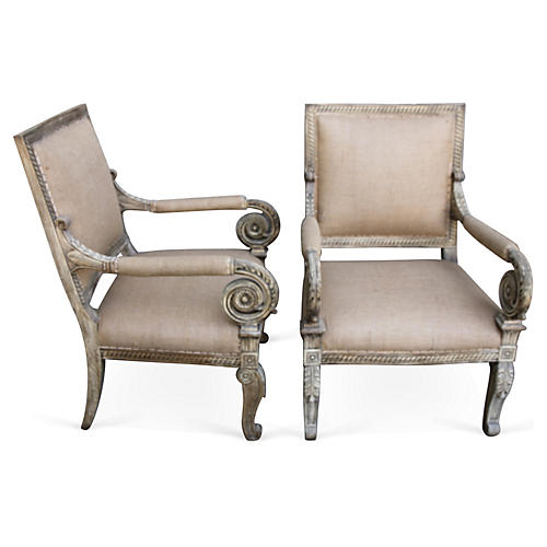 Italian Painted Scrolled Armchairs, Pair
