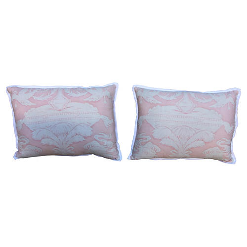 Pink & White Fortuny Pillows, Pair
