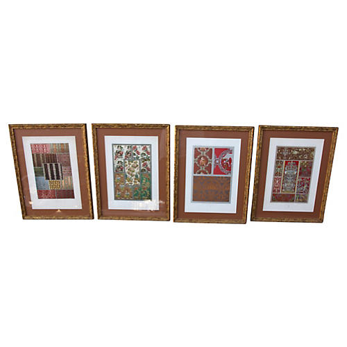 Framed French Textile Prints, S/4