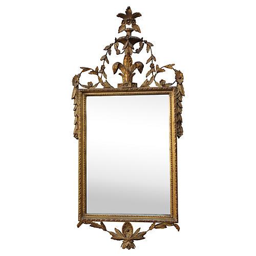 Italian Giltwood Mirror w/ Fleur De Lis