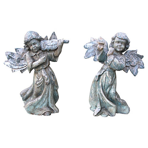 Pair of Carved Painted Musical Angels