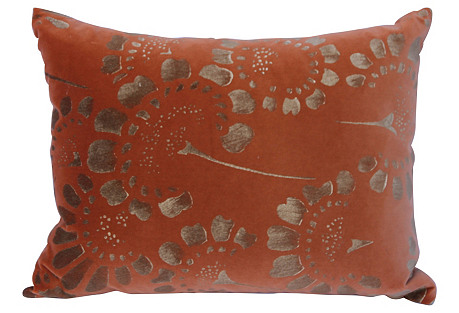 Gold Stenciled Coral  Velvet    Pillow