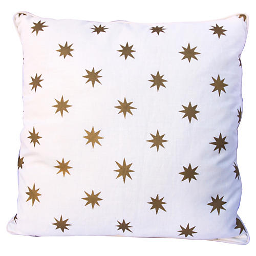 Gold Stenciled Star Linen Pillow