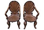 Venetian  Carved Grotto Armchairs, Pair
