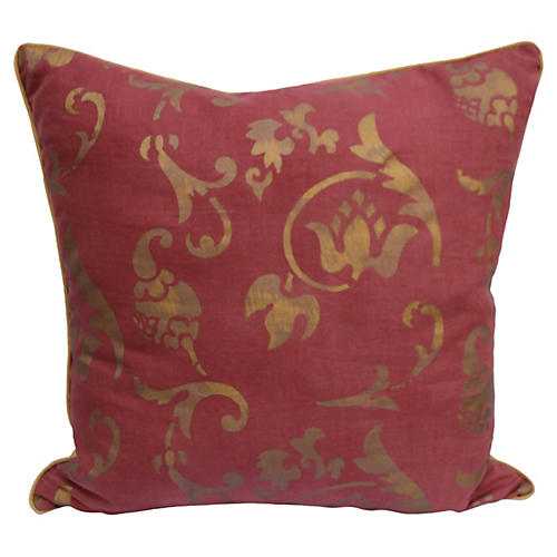 Red & Gold Stenciled Linen Pillow-Nomi