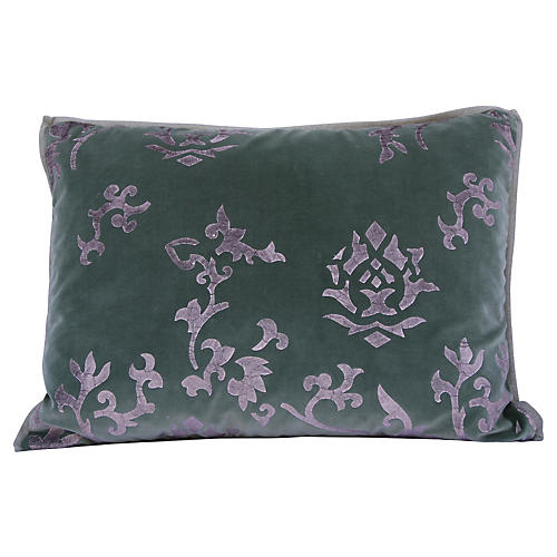 Silver Stenciled Velvet Pillow
