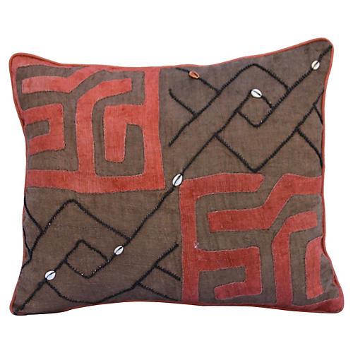 Kuba Cloth Textile Pillow w/ Shells