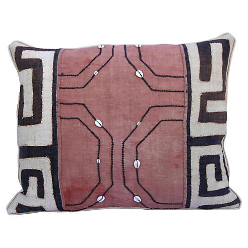 African Kuba Cloth Pillow w/ Shells