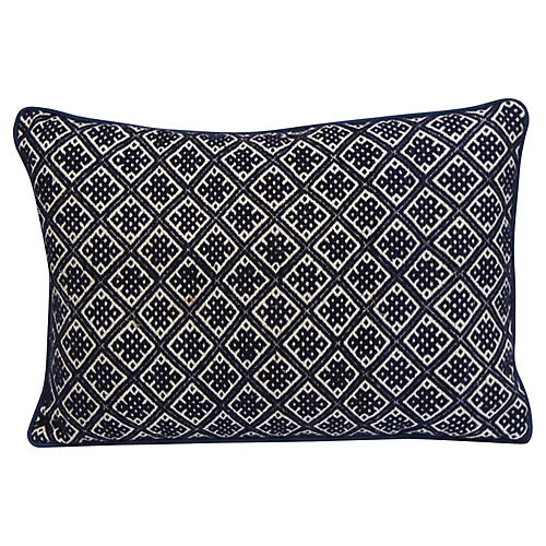 Blue & White Patterned Pillows, Pr