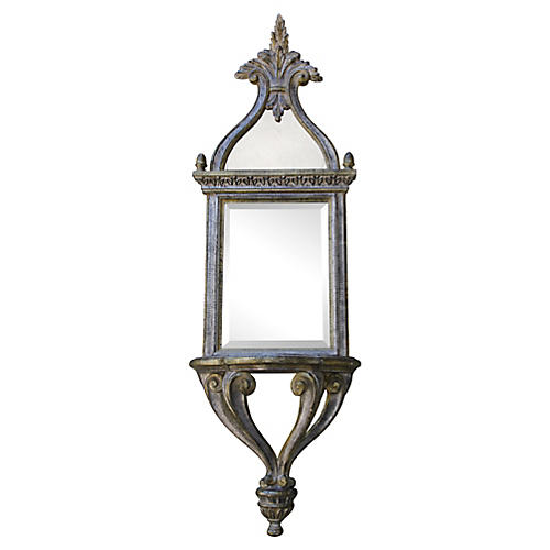 Italian Silver Leaf Mirror w/ Shelf