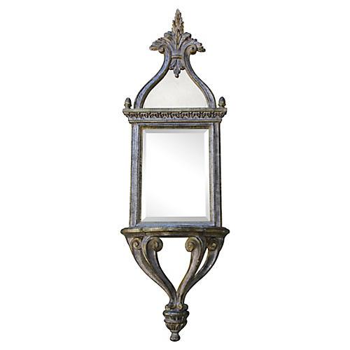 Italian Silver Leaf Mirror w/ Shelf