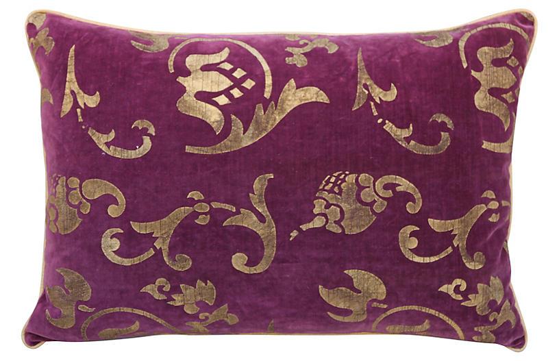 Gold Stenciled Aubergine Velvet Pillow