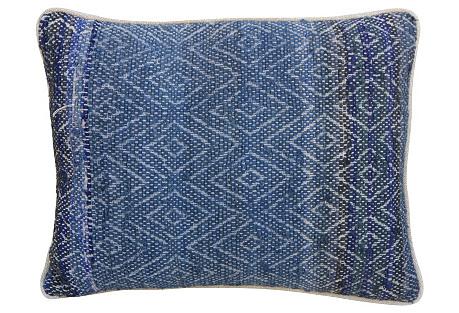 Indigo Woven Rag-Rug Pillow w/ Diamonds