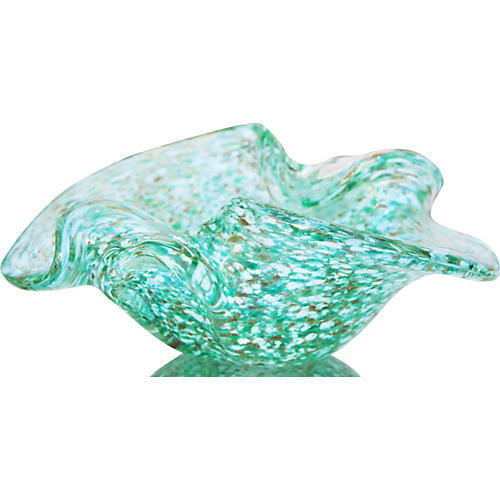 Green & Gold Murano Dish