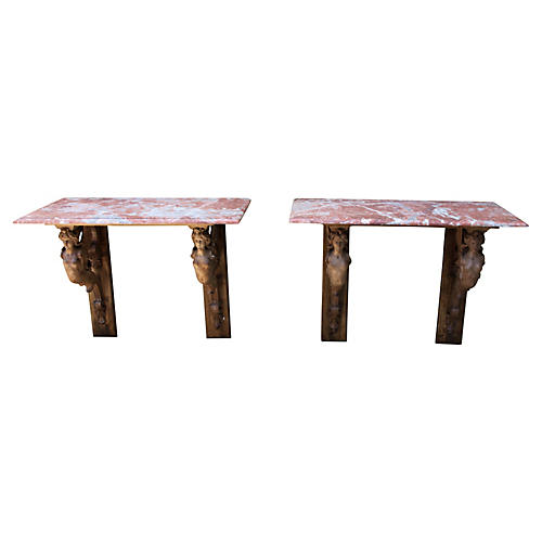 French Marble-Top Consoles, Pair