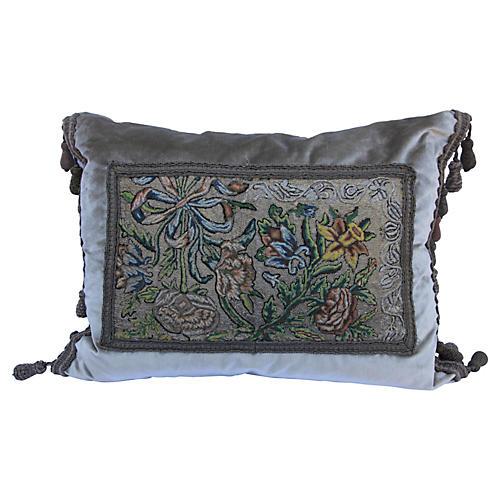Antique Metallic Needlework Pillow
