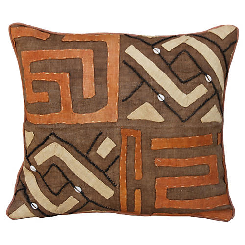 African Kuba Cloth Pillows, A pair