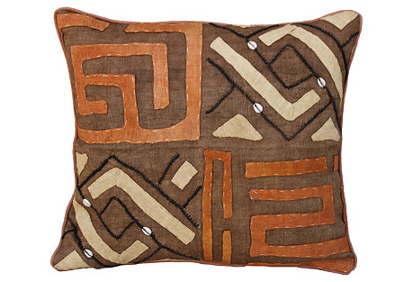 African    Kuba  Cloth Pillow w/ Shells