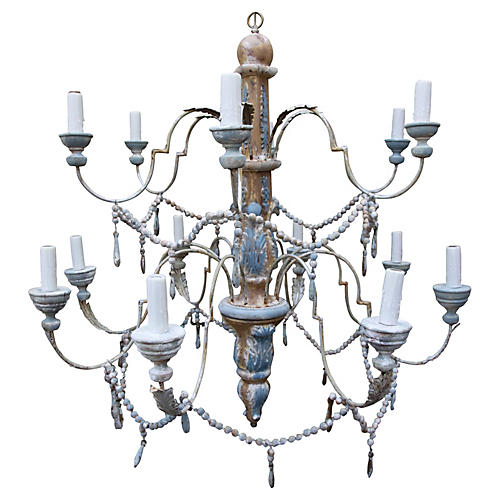 Carved Wood & Iron Two-Tier Chandelier