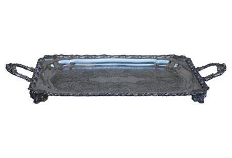 English Silver Etched Rectangular Tray
