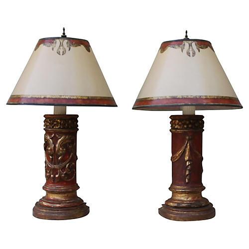 Painted & Parcel Gilt Italian Lamps, S/2