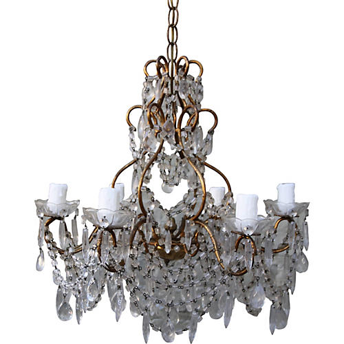 French Gilt-Metal Crystal Chandelier