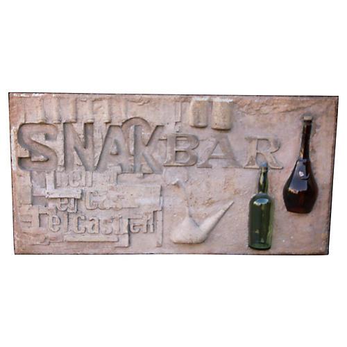 Terracotta Snack Bar Sign w/ Bottles