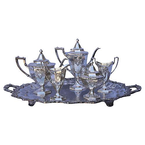 Hand-Hammered & Engraved Tea Set