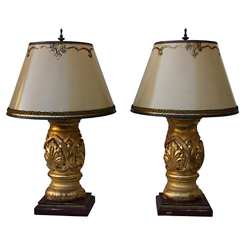Carved Giltwood Lamps, Pair