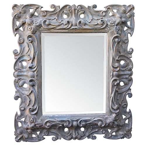 Painted Carved Mirror w/ Bevel