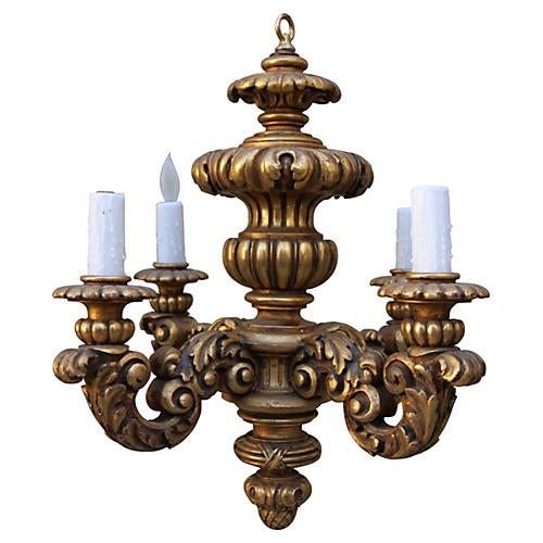 Carved Italian Giltwood Chandelier