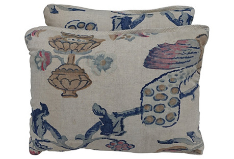 Printed Linen & Silk Pillows, Pair