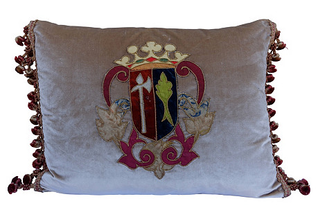Antique Royal Crest Appliqué Pillow