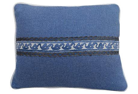 Fortuny & Blue Linen Pillows, Pair