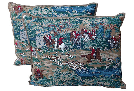 Equestrian Hunt Scene Pillows, Pair