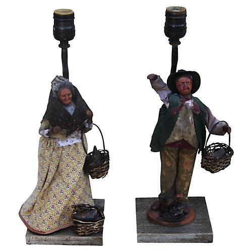 Primitive Figural Lamps, Pair