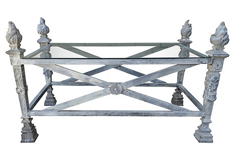 French Cast Iron Coffee Table w/ Flames
