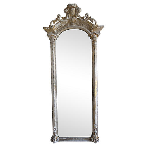19th C. French Carved Painted Mirror