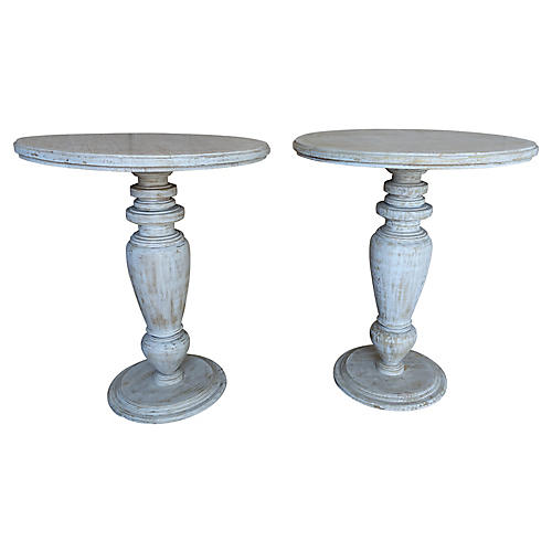 Painted Wood Turned Side Tables, Pair