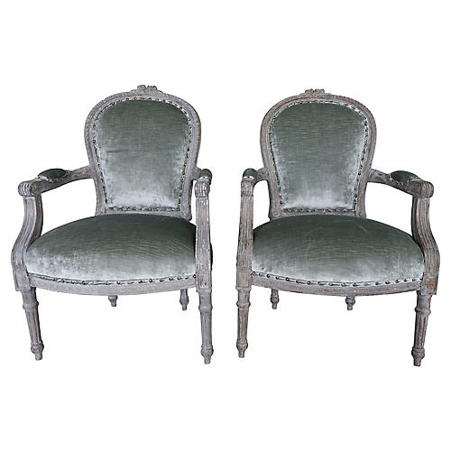 Louis XVI-Style French Painted Armchairs