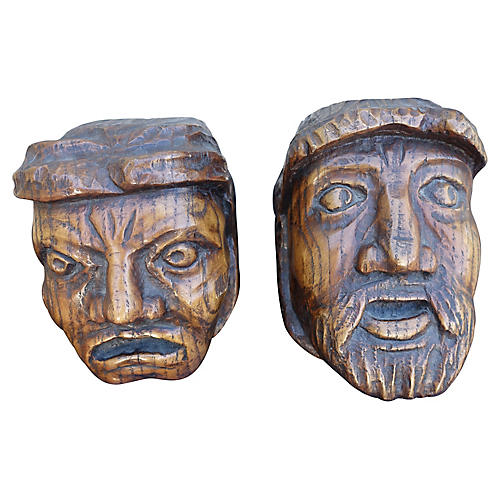 Hand-Carved Wood Heads, S/2